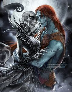 Female!Jack and Male!Sally (Jaq and Sal) ||| Disney Nightmare before Christmas Genderbend Fan Art by sakimichan