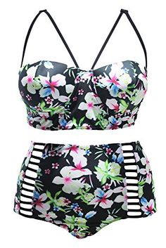 68f273563c2b0 sicong2 Colorful Women s Floral Print High Waist 2 pc Bikini Plus Size  Swimwear with Skirt MultiXXXX