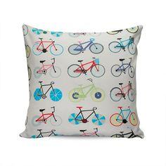 Almofada Colore Estampa Bicicletas Coloridas Tecido Plano em Algodão - 45x45 cm