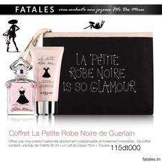 Idée Cadeau - Coffret La Petite Robe Noire de Guerlain Offrez une Une création parfumée absolument indispensable et totalement irrésistible.. Ce coffret  contient: une Eau de Toilette 30 ml + un Lait de Corps 75ml + Trousse   Prix: 115dt   #Fatales #Guerlain #LaPetiteRobeNoire