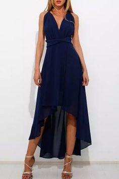 Sexy Plunging Neck Asymmetrical Convertible Women's DressMaxi Dresses | RoseGal.com