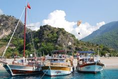 Boats and a paraglider