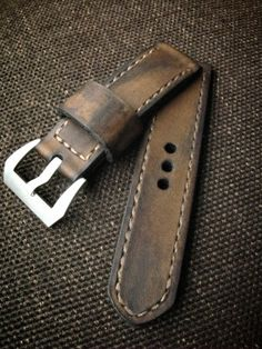 Brown vintage handmade leather watch strap, Bas and Lokes