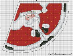 Cross-stitch Santa Cone... No color chart available, use the colors on the graph pattern as your guide.