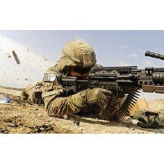 US Air Force soldier fires the Mk48 super SAW machine gun Canvas Art - Stocktrek Images (35 x 23)