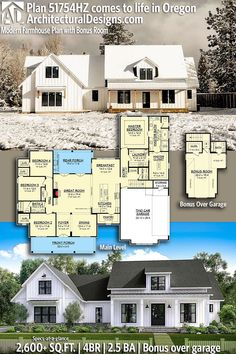 Architectural Designs Modern Farmhouse Plan client-built in Oregon! This… Architectural Designs Modern Farmhouse Plan client-built in Oregon! Modern Farmhouse Plans, Rustic Farmhouse, Dream House Plans, Four Bedroom House Plans, Square House Plans, Family House Plans, House Goals, Planer, Future House