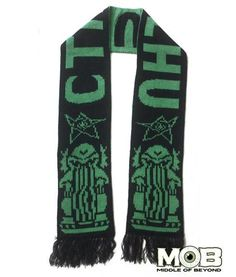 "Product in Stock    Ships in 1-2 Days Cthulhu our dark Lord will appreciate you wearing this scarf for the end times. This scarf is 72 inches in length and 7 inches wide. Made of 100% acrylic.  Black and dark green in color. It has a Cthulhu at each end, the elder signs, and ""CTHULHU"" down the middle."