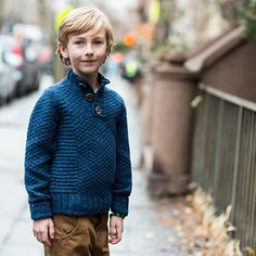 Wyatt is a grown-up sweater in a dense knit. Casual details, like a button collar and roll-up cuffs make is...