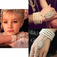 1920 s Flapper Great Gatsby Daisy Style Silver Crystal Pearl Bracelet Ring Gift