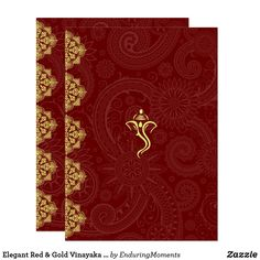 Elegant Red & Gold Vinayaka Wedding Insert Card A stylish, elegant, chic, and modern rendition of a traditional Hindu Vinayaka (Ganesh/Ganesha) design for making your special celebration even more memorable. This beautiful red and gold design is an integral part of an entire collection of high-quality products and accessories that will complete your theme. Be sure to contact me directly for special requests.