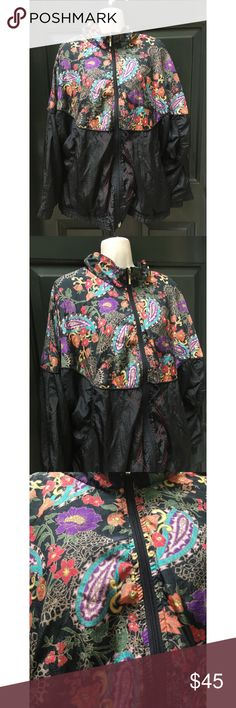✨ Coolest Vintage Unisex Paisley Windbreaker - Coolest Vintage Unisex Black & Paisley Windbreaker  - One of a kind unique piece perfect for fall! Lightweight windbreaker with inner lining for warmth  - Main colors: Black with paisley pattern (blue, red, yellow, orange, purple)  - In great condition, no signs of wear, zipper and lining in tact  - Elastic bands around wrists are a little loose  - Brand: Vintage  - Size: XL  *20% off 2+ * Make me an offer!! Vintage Jackets & Coats