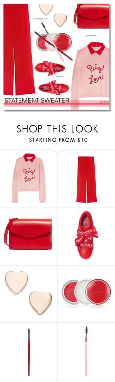 """""""Statement Sweater ... 2017"""" by greta-martin ❤ liked on Polyvore featuring Alice + Olivia, VereVerto, Puma, Poppy Finch, Clinique, Smashbox and Luxie"""