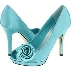 Oh so beautiful light blue high heel shoes with a lovely rosette!