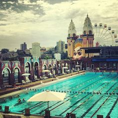 North Sydney public swimming pool with Luna Park behind. #Sydney #Australia