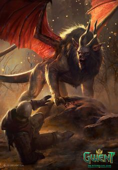 Gwent Illustration: Manticore by Marek Madej. A monster dearly missed in the witcher games. Dark Fantasy Art, Fantasy Artwork, Fantasy Kunst, Dark Art, Final Fantasy, Monster Concept Art, Fantasy Monster, Monster Art, The Beast