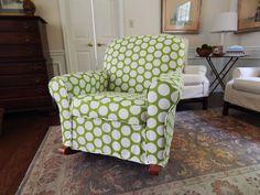 Polka Dot Slipcover for a nursery rocker Polka Dot Fabric, Polka Dots, Wingback Chair, Armchair, Nursery Rocker, Slipcovers, Window Treatments, Baby Room, Accent Chairs