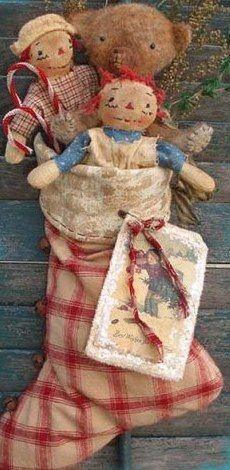 Antique Bear and Raggedy Ann and Andy Prim Christmas stocking ~ Sweet Meadows Farm Merry Little Christmas, Christmas Love, Country Christmas, Winter Christmas, Christmas Crafts, Christmas Decorations, Outdoor Christmas, Christmas Trees, Cowboy Christmas