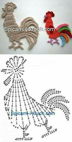 Rooster crochet motif