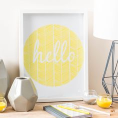Bild aus Holz, gelb/weiß, 30 x 40 cm, HELLO RING | Maisons du Monde