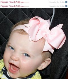 SALE Boutique Pink Large Basic Hair Bow on by CamdynReeseHeadbands