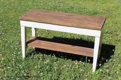 Piano bench makeover - DIY farmhouse bench from an old piano bench using reclaimed wood, paint and stain - Life on Kaydeross Creek. Ikea Storage Cubes, Diy Storage Bench, Entryway Storage, Diy Bench, Farmhouse Bench, Farmhouse Style, Farmhouse Ideas, Furniture Makeover, Diy Furniture