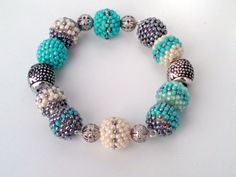Beaded  Turquoise Bracelet - Toho Crochet Beaded Jewelry Beadwork - Lizard - Sun - Boho - Gypsy