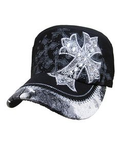 1e3bc81112e14 Kbethos Black Crystal-Studded Cross Cadet Cap