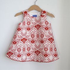 Red & White Deco Geometric Flower Newborn Dress or by aprilscott, $36.00