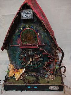 Visit the post for more. Fairy Houses, Enchanted, Clock, Bird, Outdoor Decor, Wall, Home Decor, Homemade Home Decor