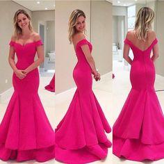 Off Shoulder Hot Pink Soft Satin Long Mermaid Elegant Formal Prom Dresses, PD0263