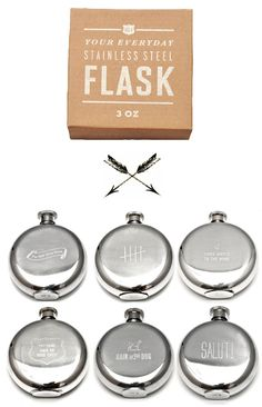 Don't you love these? And seriously, the packaging? Love. It. How about a different flask or shaker for each groomsman?