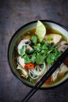 A delcious recipe for Thai Chicken Noodle soup with a fragrant Lemongrass and Ginger broth.