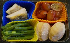Bento for Baby 86:  Oven fried chicken, grapes, whole wheat biscuits, green beans