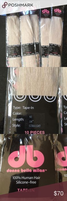 "Donna Bella 18"" Remy Human hair tape in extensions Tape-In Color: 60 Texture: Straight Length: 18"" Qty: 10 Wefts per package  100% Pure Human Remy Hair Donna Bella Accessories Hair Accessories"