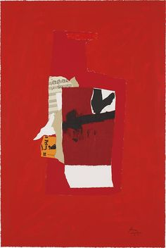 Robert Motherwell (1915-1991), Redness of Red (1985), screenprint, lithograph, and collage in colours, on Arches Cover paper, 40.6 x 61 cm.