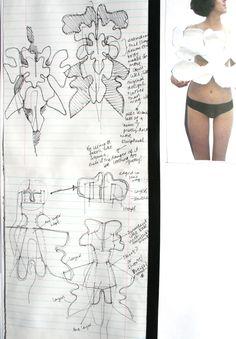 Fashion Sketchbook - fashion design sketches development of a sculptural paper pattern - work in progress; Fashion Illustration Sketches, Fashion Sketchbook, Fashion Design Sketches, Sketchbook Layout, Sketchbook Inspiration, Sketchbook Ideas, Buch Design, Fashion Portfolio, Designs To Draw