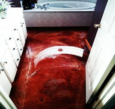 red epoxy resin floor. this page has diy instructions, videos as well as links to classes and products