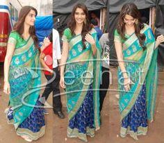 Green and blue sari