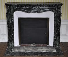 Antique Pompadour fireplace, Louis XV style, in Sea Green marble, 19th century #pompadour #antique #louis15 #style #french #frenchantiques #marcmaison #fireplace #mantel