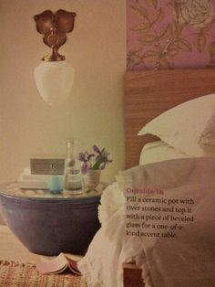 DIY end table from Better Homes and Gardens March 2013 magazine. Funny cause I thought I made up this idea!