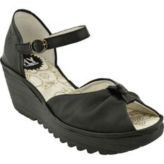 SALE - Womens Fly London Yosey Wedge Heels Black Leather - Was $165.00 - SAVE $16.00. BUY Now - ONLY $149.00.
