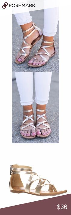 Metallic Gold Strappy Sandals A spring/summer wardrobe staple. A timeless gold metallic color that matches anything! Fits true to size. Super comfy and chic. Bchic Shoes Sandals