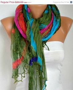 Boho scarf  I love the colors in the scarf! So pretty and perfect for a winter stitch