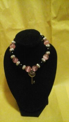 New pink and black key 2 your  heart  bracelets