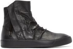 Alexandre Plokhov - Black Creased Leather High-Top Sneakers