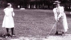 12 year old Margaret Curtis teeing it up with 1895 & 1897 USGA  Women's Championship Runner Up Nellie Sargent