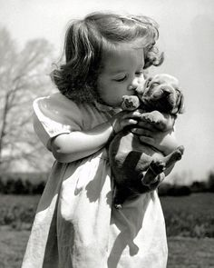 "From the June 1952 LIFE feature - THE VERSATILE WEIMARANER - ""Puppy love is evident as Christina Goldsmith, 2 ½, kisses a young acquaintance. The Weimaraner makes a good household pet and an excellent watchdog."" Happy Valentine's Day from. Funny Animal Photos, Funny Animals, Funny Photos, Weimaraner Puppies, Schnauzer Puppies, Miniature Schnauzer, Photo Vintage, Life Pictures, Hunting Dogs"