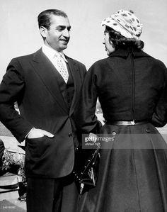 Soraya (Esfandiary Bakhtiary) *-+ Kaiserin von Persien 1951-1958, Iran - mit ihrem Ehemann Reza Pahlevi, Schah von Persien - 1956