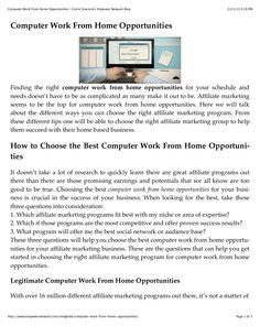 computer-work-from-home-opportunities by Carrie Giaconia via Slideshare Make Money Online, How To Make Money, Work From Home Opportunities, Document Sharing, Carrie, Making Out, Opportunity, Work At Home Opportunities