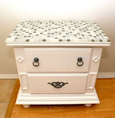 DIY Tiled Table Top Tutorial. I have some cheap old night stands to spruce up!